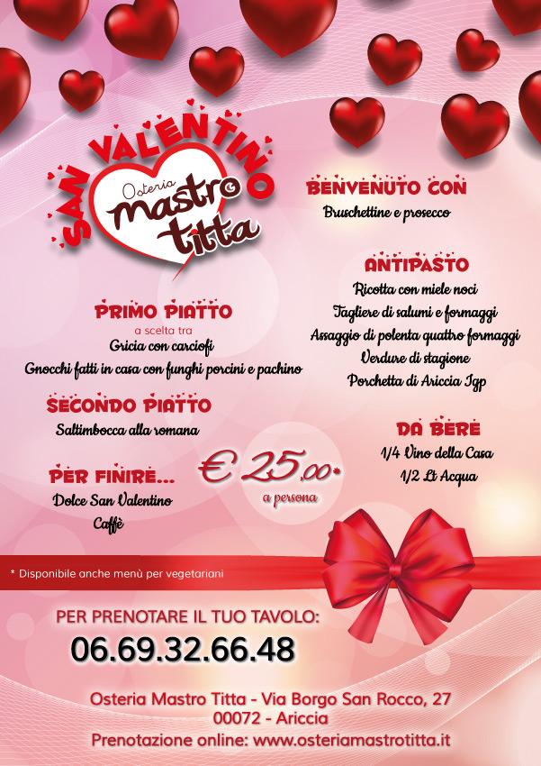 Menù di San Valentino 2018 - Osteria Mastro Titta - Fraschetta Ariccia