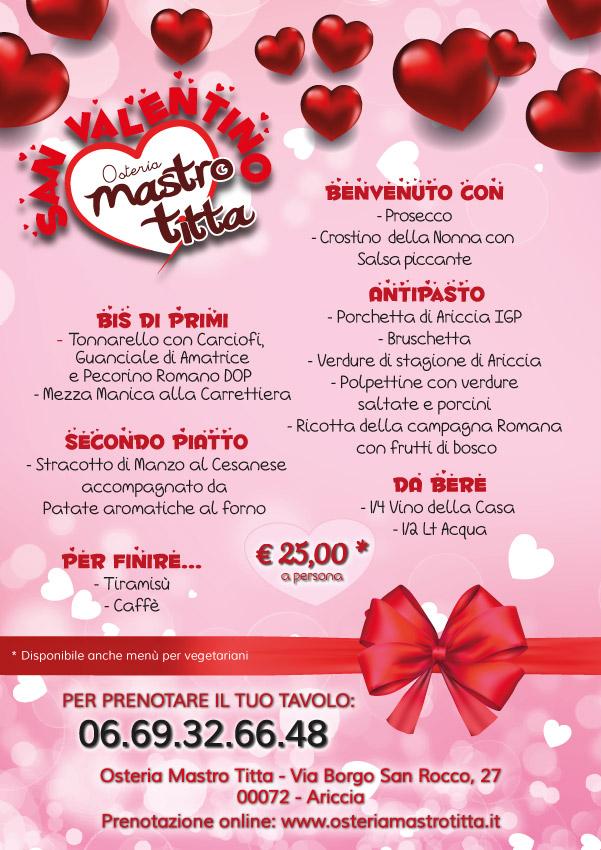Menù di San Valentino 2019 - Osteria Mastro Titta - Fraschetta Ariccia
